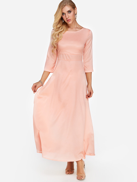 Yoins Pink Round Neck Half Sleeves Maxi Dresses