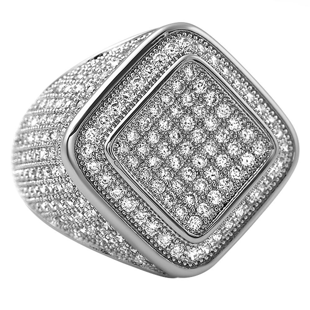 Deep Ice Rhodium CZ Micro Pave Bling Ring