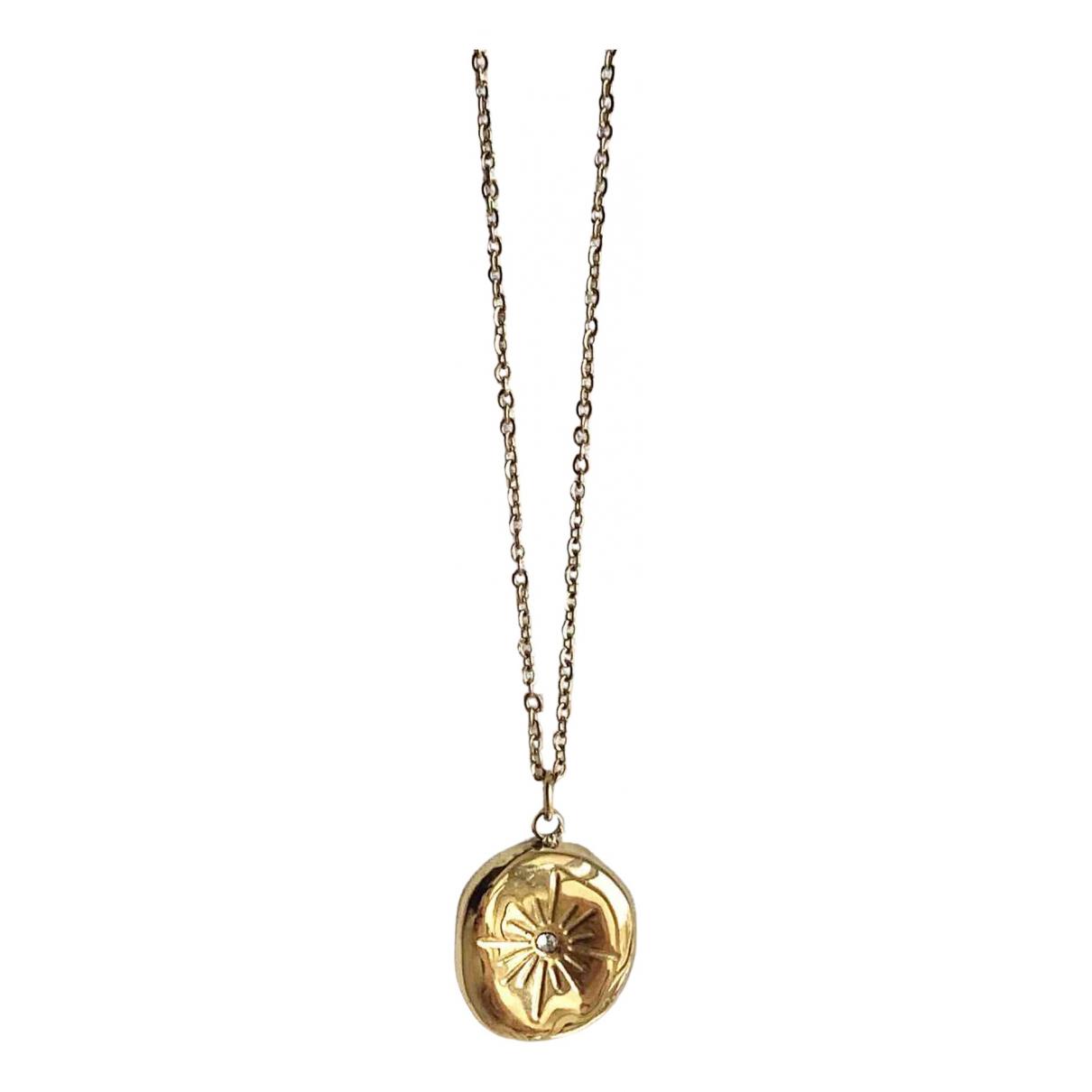 Non Signe / Unsigned Motifs Floraux Anhaenger in  Gold Stahl