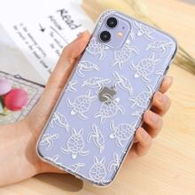 Turtle Print Clear iPhone Case