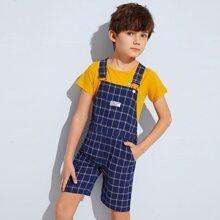 Shorts overol de niños de cuadros con diseño de boton con parche delantero