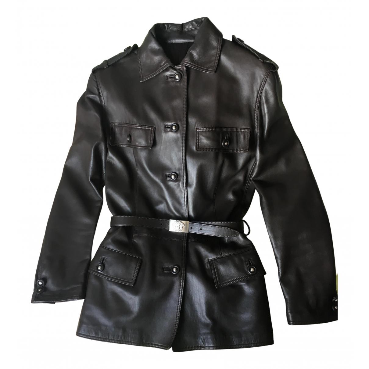 Gianni Versace - Blouson   pour femme en cuir - marron