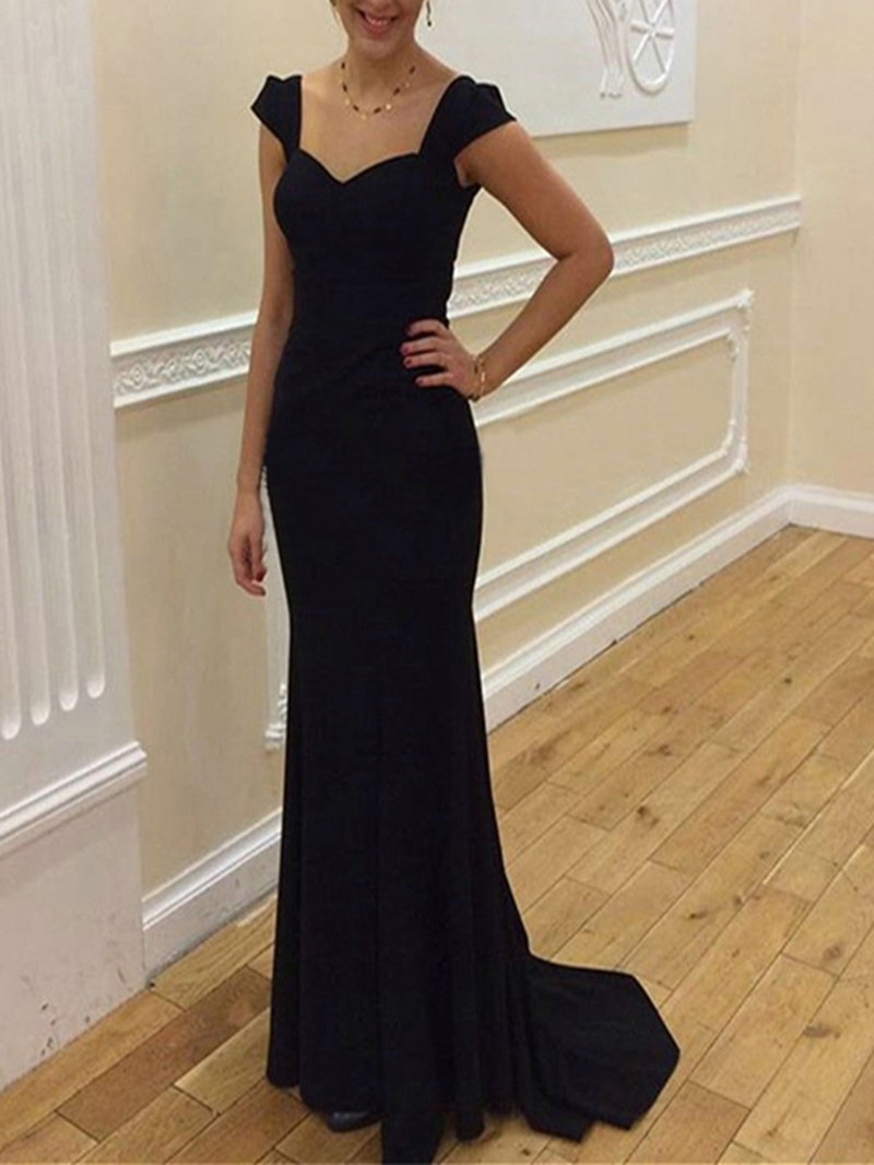 Ericdress Cap Sleeves Floor-Length Mermaid Evening Dress