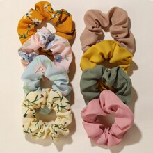8 Stueck Blumenmuster Scrunchie