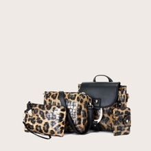 4pcs Leopard Flap Backpack Set