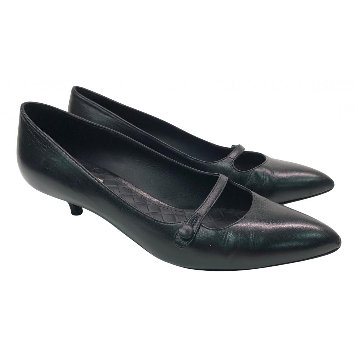 Bottega Veneta N Black Leather Heels for Women 35.5 EU