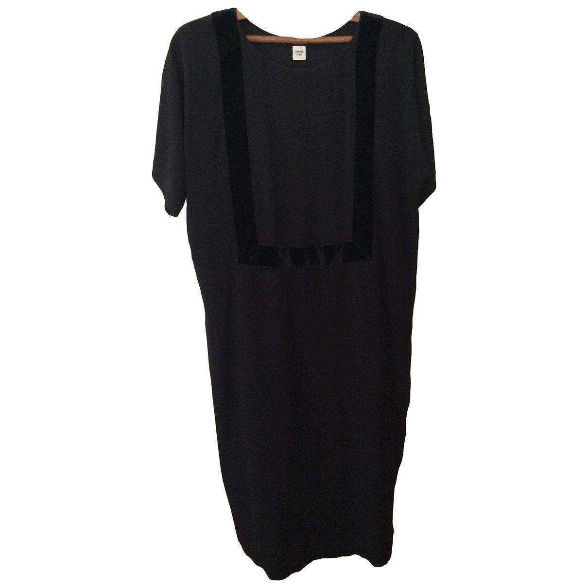 Hermes - Robe   pour femme en soie - noir