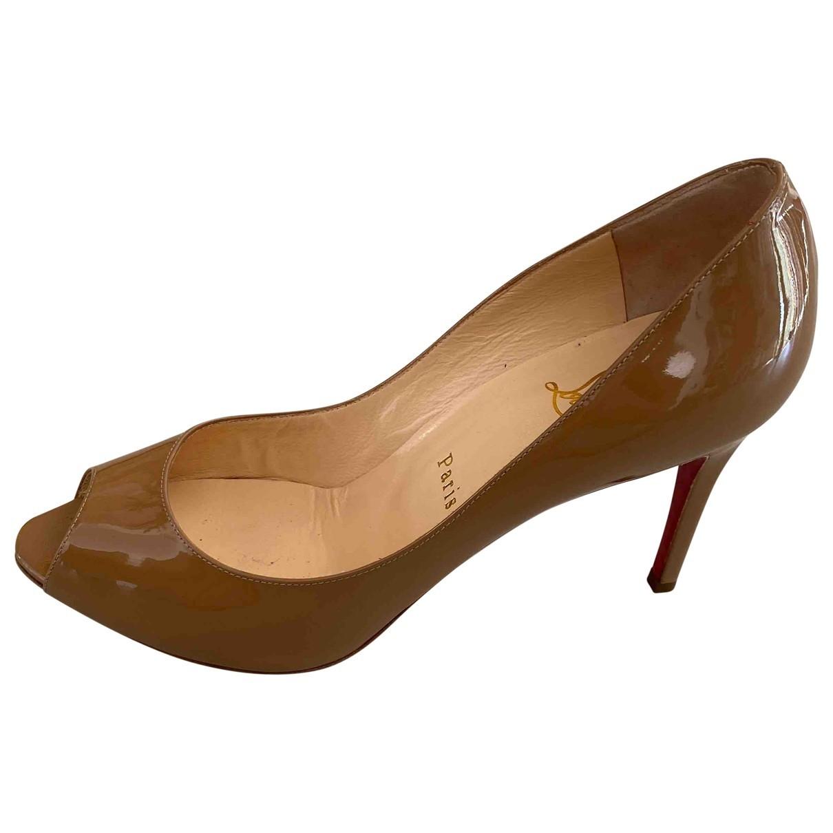 Christian Louboutin \N Beige Patent leather Heels for Women 39.5 EU