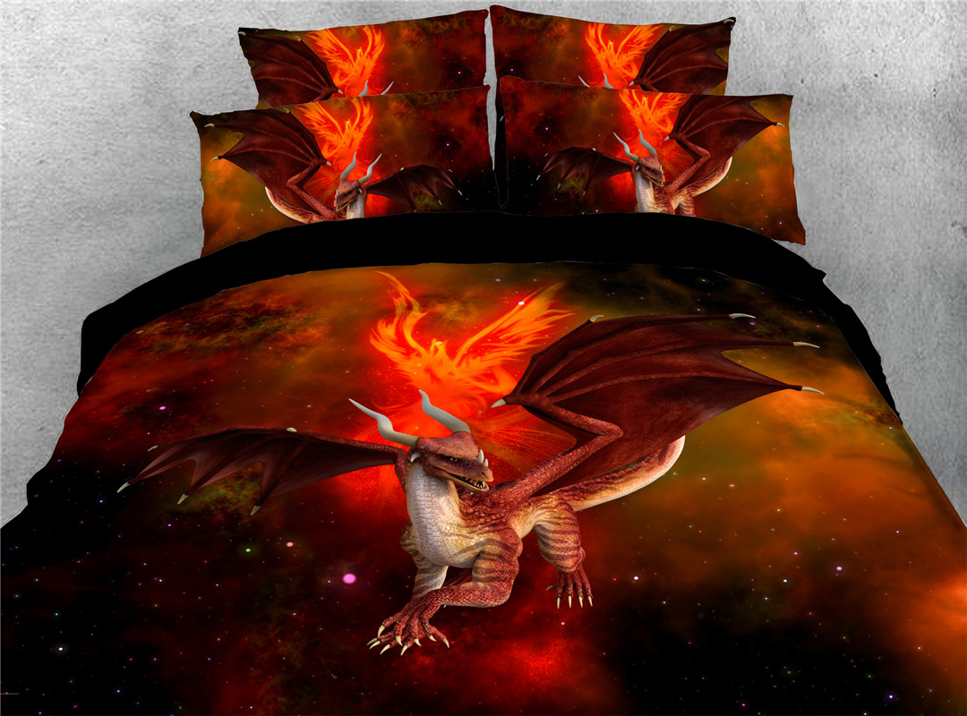 Dinosaur With Fire Hand Wash Four-Piece Polyester Beddin Set Colorfast Wear-resistant Endurable
