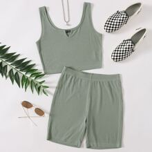 Notched Neck Rib-knit Tank Top & Biker Shorts Set