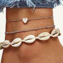 Seashell Design Anklet Set 3pcs