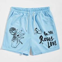 Guys Floral & Slogan Graphic Drawstring Shorts