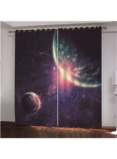 3D Beautiful Planet and Sun light Printed Blackout Custom Scenery Curtains