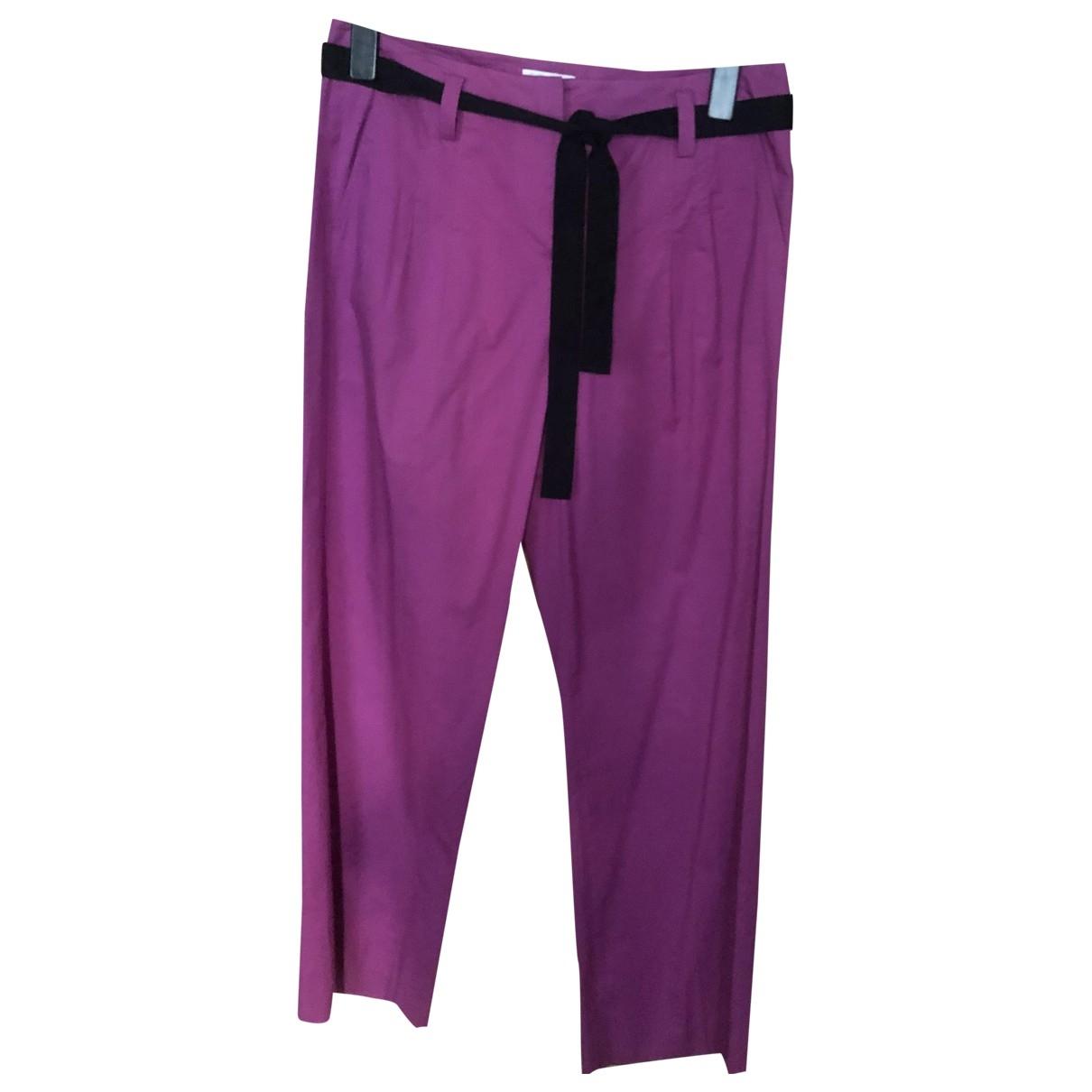 Sonia Rykiel \N Purple Cotton Trousers for Women 42 FR