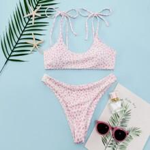 Gerippter Bikini Badeanzug mit Dalmatiner Muster und Band auf Schulter