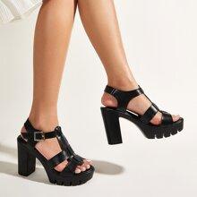 Cut Out Platform Chunky Heeled Sandals