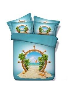 Special Design Beach Scenery Print 5-Piece Comforter Sets