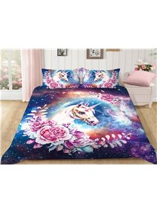 Crease-resistant And Soft Flower and Unicorn Printed 4-Piece Bedding Sets/Duvet Covers