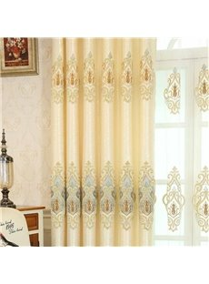 Elegant Luxury Beige Jacquard Sliding Door Curtains 2 Panel Set 80 Inches Wide and 84 Inches Long Elegant Look and Silky Soft Touch Physically Blocks