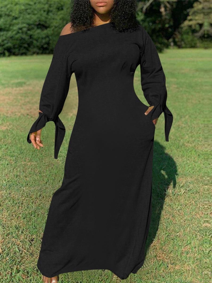 LW lovely Casual Basic Knot Design Black Maxi Dress