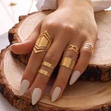 5pcs Hollow Out Heart & Geometric Design Ring