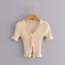 Plus V-neck Frill Trim Button Front Cardigan