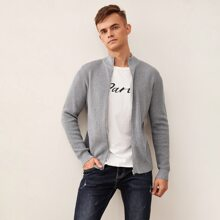 Guys Solid Zip Up Waffle Knit Cardigan