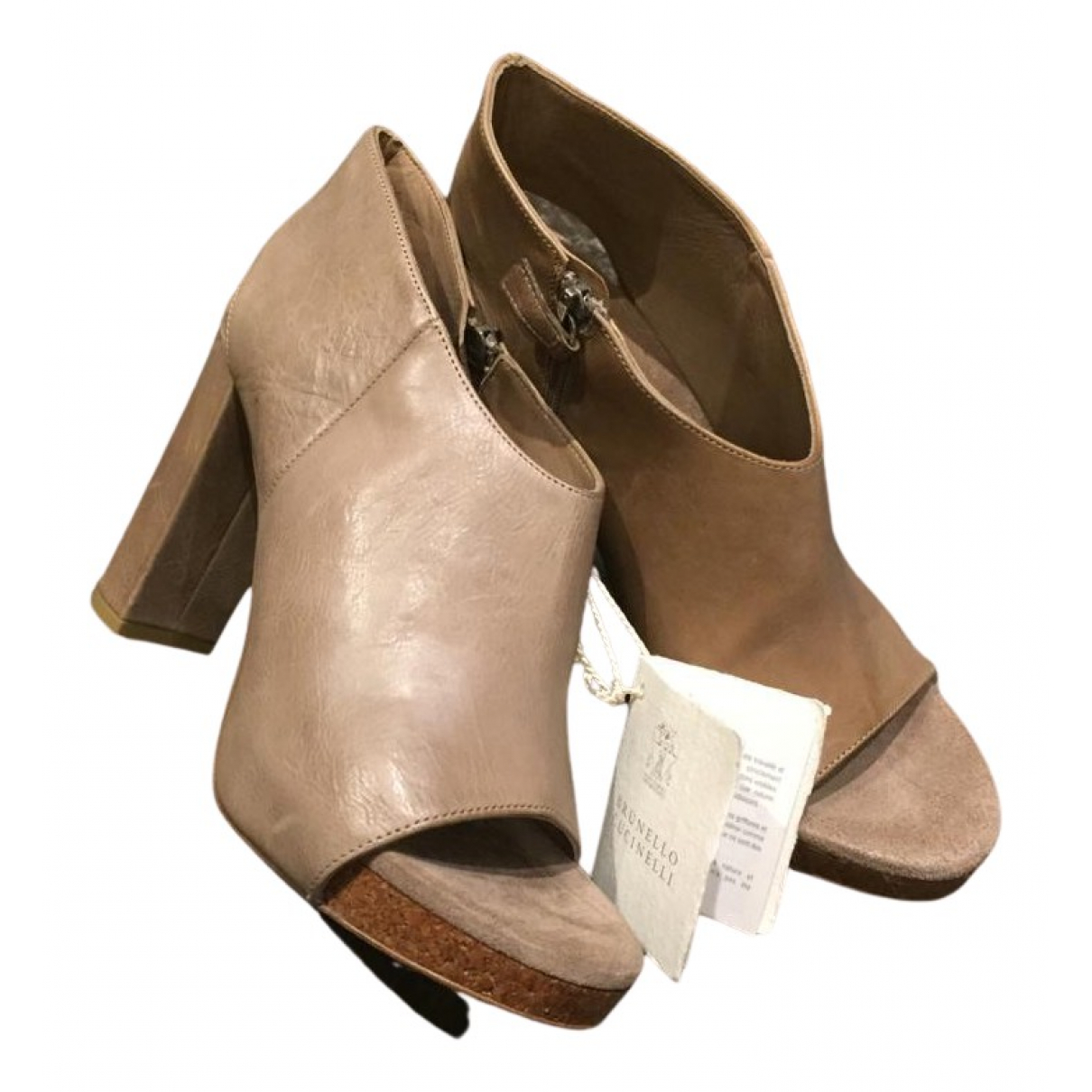 Brunello Cucinelli N Beige Leather Ankle boots for Women 37 EU