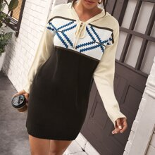Lace Up Chevron Colorblock Hooded Sweater Dress