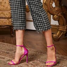 Two Part Croc Embossed Stiletto Heeled Sandals