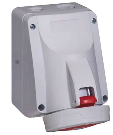 Legrand IP67 Red Wall Mount 3P+N+E Right Angle Industrial Power Socket, Rated At 63.0A, 415.0 V