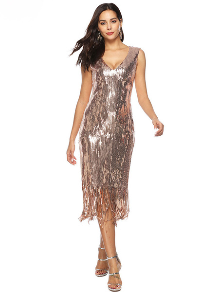 Milanoo Women Flapper Dresses Sequin Fringe V Neck 1920s Fashion Style Outfits For Women Great Gatsby 20s Party Dress Halloween