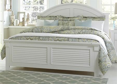 Summer House I Collection 607-BR-QPB Queen Panel Bed with Louvered Panel Accents  Arched Crown Molding and Center Supported Slat System in Oyster
