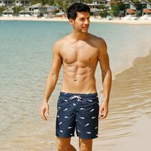Men Fish Print Drawstring Swim Trunks