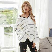 Striped Split Hem Bell Sleeve Sweater