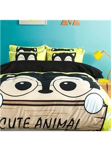 Cute Animal Print Polyester 4-Piece Duvet Cover Sets