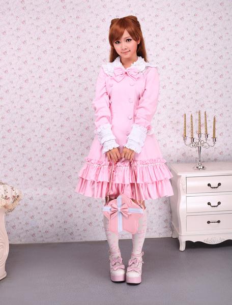 Milanoo Falda de una pieza rosa de algodon estilo clasico de cuello vuelto con volante fruncido