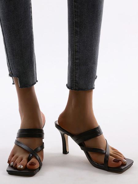 Milanoo Zapatillas sandalias Slingbacks negras Sandalias sandalias Zapatos de mujer de ancho medio