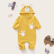 Baby Girl Cartoon Graphic Popper Through Hooded Jumpsuit