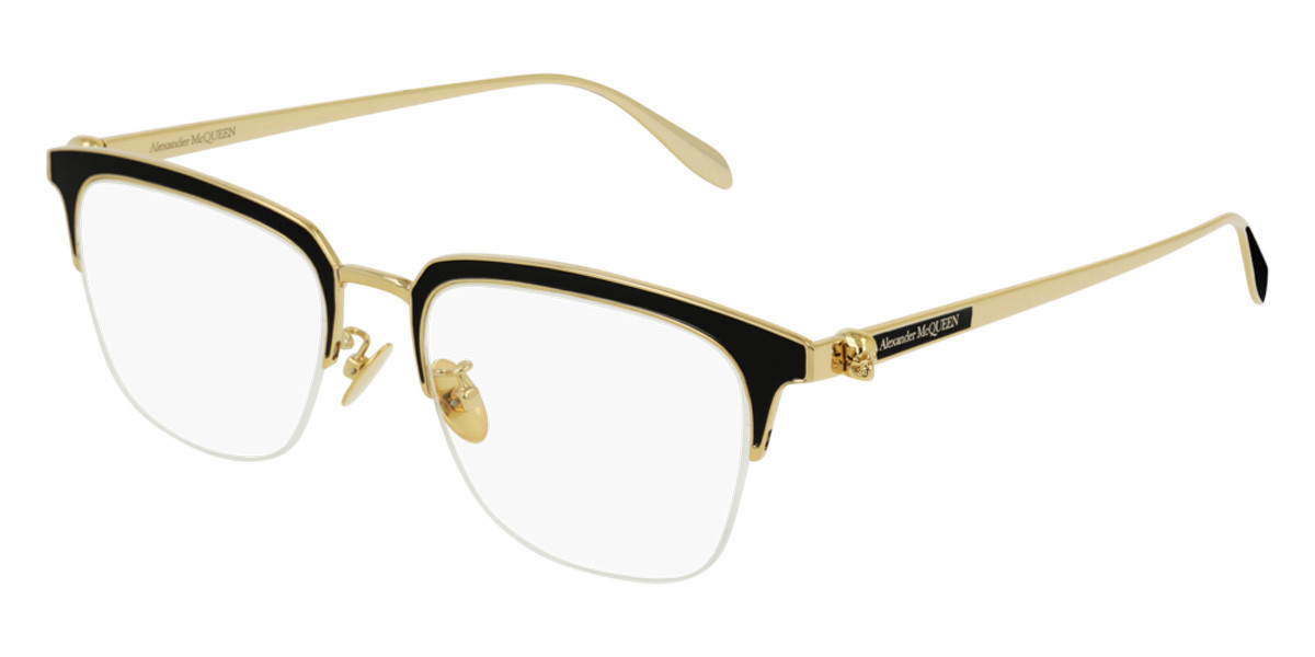 Alexander McQueen AM0215OA Asian Fit 001 Men's Glasses Black Size 54 - Free Lenses - HSA/FSA Insurance - Blue Light Block Available