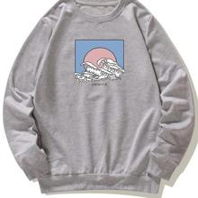 Sweatshirt mit Welle und Buchstaben Muster