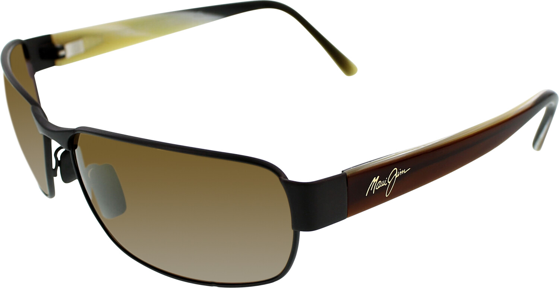 Maui Jim Mens Polarized Black Coral H249-19M Brown Rectangle Sunglasses