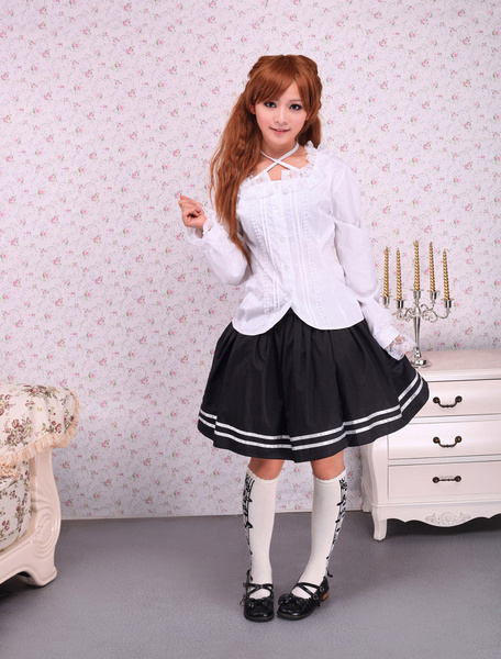 Milanoo White Cotton Lolita Blouse Long Sleeves Lace Trim Neck Straps