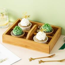 1pc 4 Grid Wooden Tray