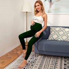 Mutterschaft einfarbige Leggings mit breitem Taillenband