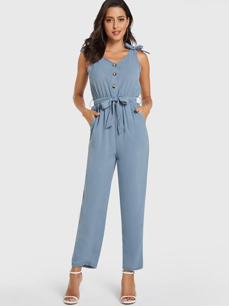 Yoins Blue Belt Design Front Button Sleeveless Jumpsuit