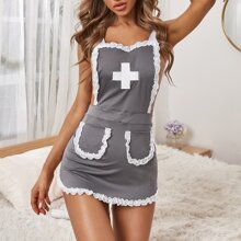 Lace Trim Nurse Costume Dress & Headband