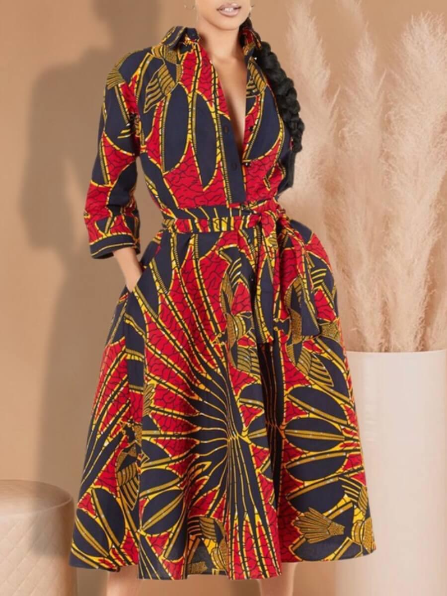 LW Lovely Stylish Turndown Collar Print Red Mid Calf Dress