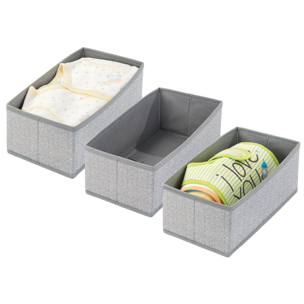 Kids Fabric Closet / Dresser Drawer Storage Organizer in Gray Herringbone, 12