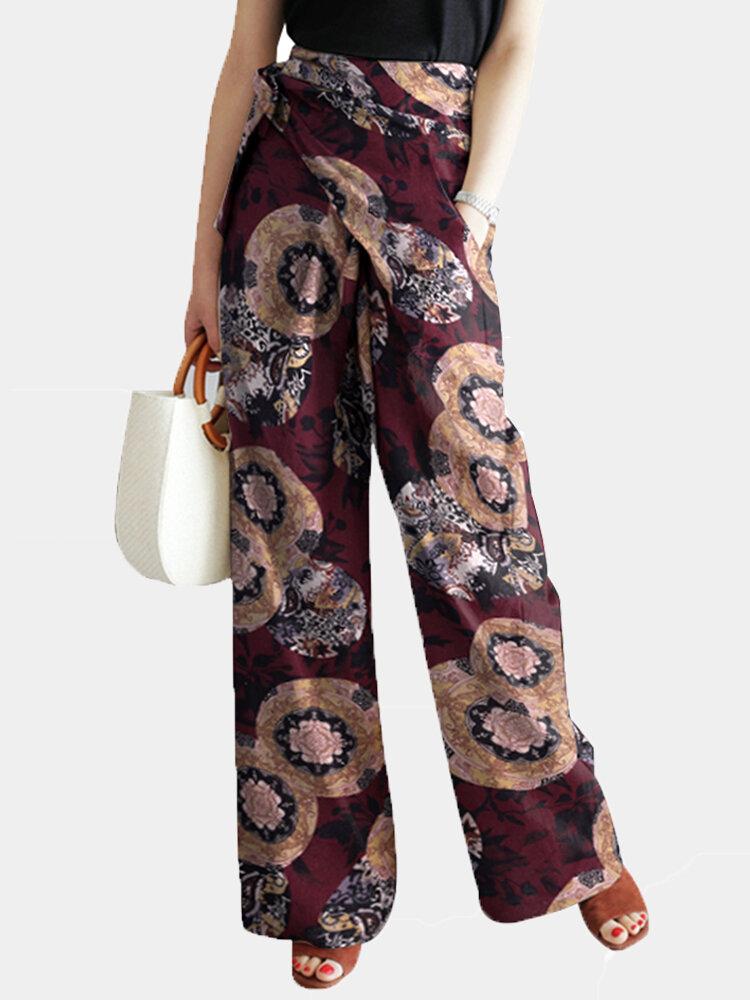 Vintage Floral Printed Waist Belt Loose Pants For Women